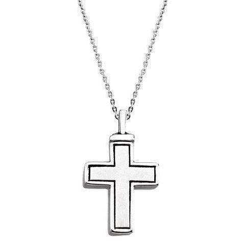 Sterling Silver Ash Holder Necklace | Outlined Cross | Cremation Jewelry