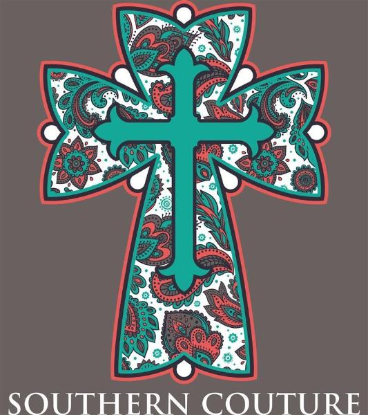 Southern Couture Christian T-Shirt | Preppy Paisley Cross