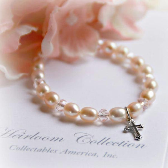 "6"" Pale Pink Freshwater Pearl and Swarovski Crystal Children's Bracelet with Cross Charm"