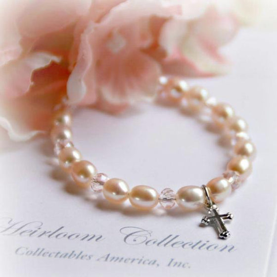 "5"" Pale Pink Freshwater Pearl and Swarovski Crystal Children's Bracelet with Cross Charm"