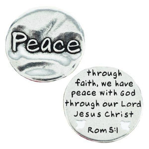 Fine Pewter Scripture Verse Pocket Token | Peace | Romans 5:1