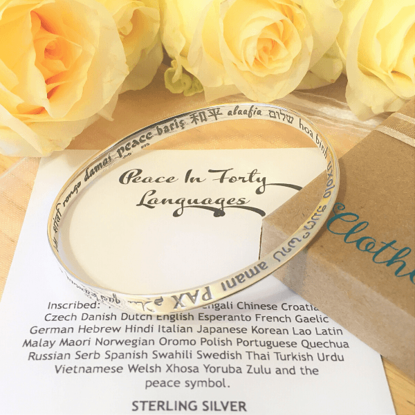 Sterling Silver Inspirational Bracelet | Peace in Forty Languages | Mobius Bangle Bracelet