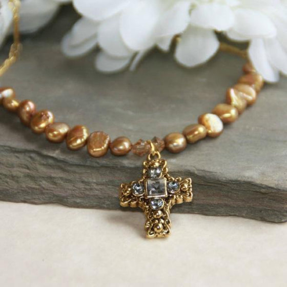 Gold Freshwater Pearl and Swarovski Crystal Cross Necklace