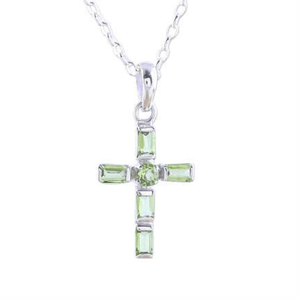 Sterling Silver and Peridot Cross Charm Necklace
