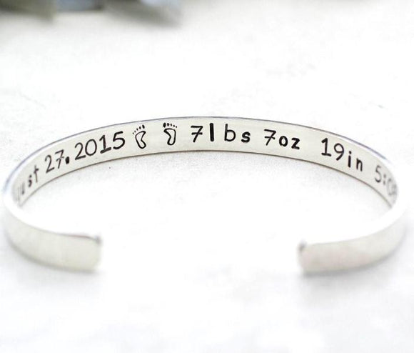 "Youth Size Sterling Silver Hand-Stamped Custom Personalized Cuff Bracelet | 1/4"" Wide 