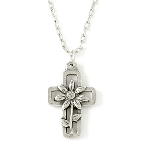 Fine Pewter Floral Cross Necklace
