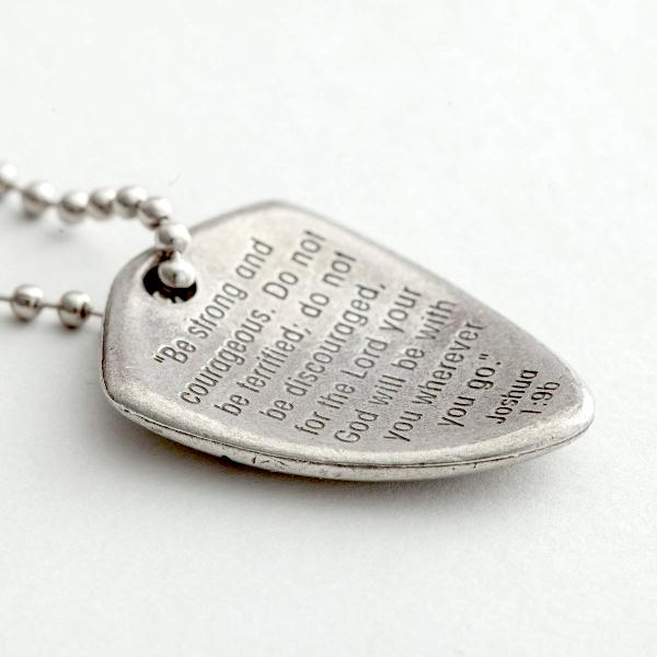 Pewter Shield of Faith Necklace | Joshua 1:9 | Be Strong and Courageous Front Back Image
