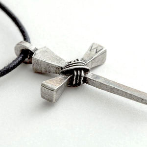 Pewter Rustic Wrapped Nails Cross Necklace