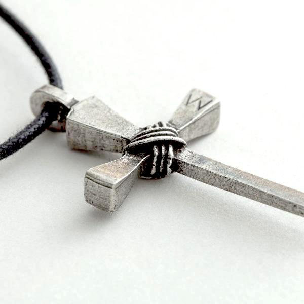 fine pewter rustic wrapped nails cross necklace clothed
