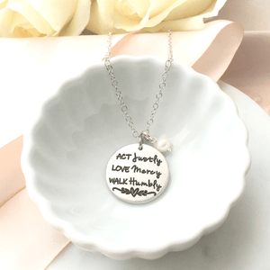 Micah 6:8 Fine Pewter Necklace | Act Justly, Love Mercy, Walk Humbly