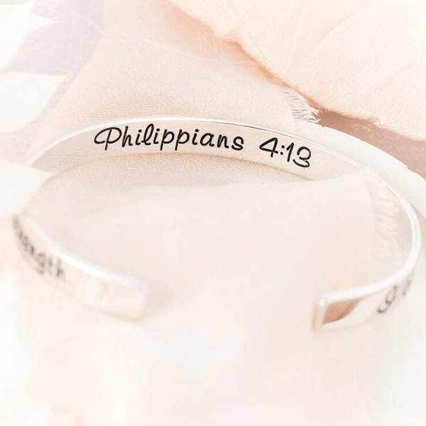 I Can Do All Things Through Christ Sterling Silver Engraved Cuff Bracelet | Philippians 4:13