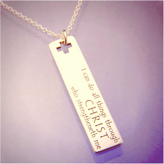 14k Gold Scripture Verse Necklace | I Can Do All Things | Philippians 4:13