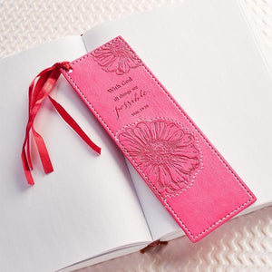 All Things are Possible Matthew 19:26 LuxLeather Bookmark | Pink