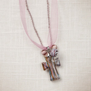 Pink Artisan Glass Cross Necklace