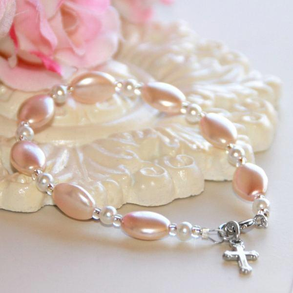"5"" Pink Pearl Children's Bracelet with Cross Charm 