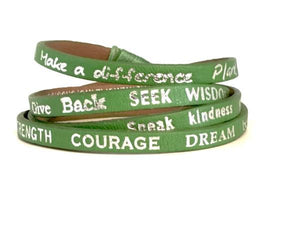 Plant Peace Genuine Leather Wrap Bracelet | Good Works Make a Difference