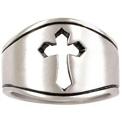 Sterling Silver Men's Wide Cut Out Pointed Tip Cross Ring