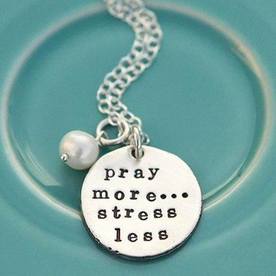 The Vintage Pearl Hand-Stamped Necklace | Pray More, Stress Less