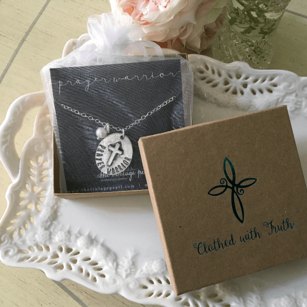 The Vintage Pearl Hand-Stamped Fine Pewter Necklace | Prayer Warrior