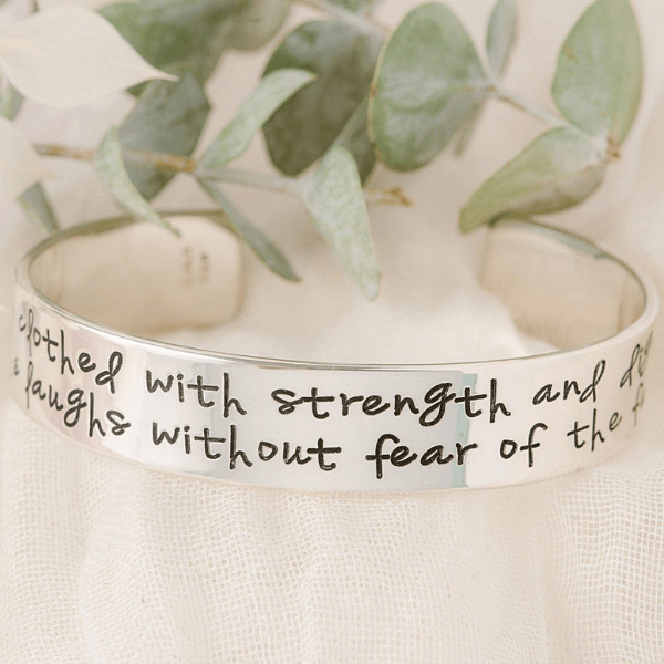 "Proverbs 31 Sterling Silver Engraved Cuff Bracelet | 1/2"" width"
