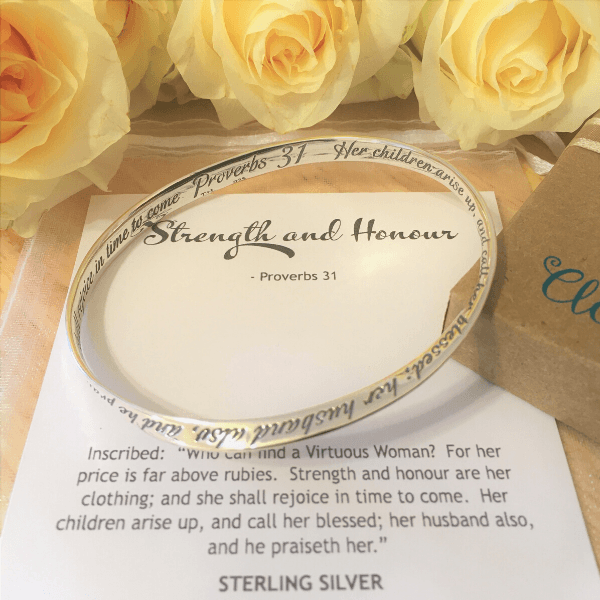 Proverbs 31 Mobius Bangle Bracelet | Sterling Silver or 14k Gold