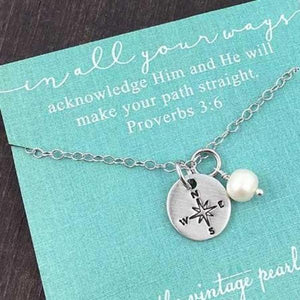 He Will Make Your Paths Straight Compass Necklace | The Vintage Pearl