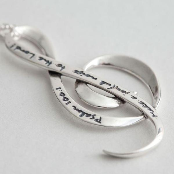 Sterling Silver Scripture Necklace - Make a Joyful Noise Psalm 100 - Clothed with Truth