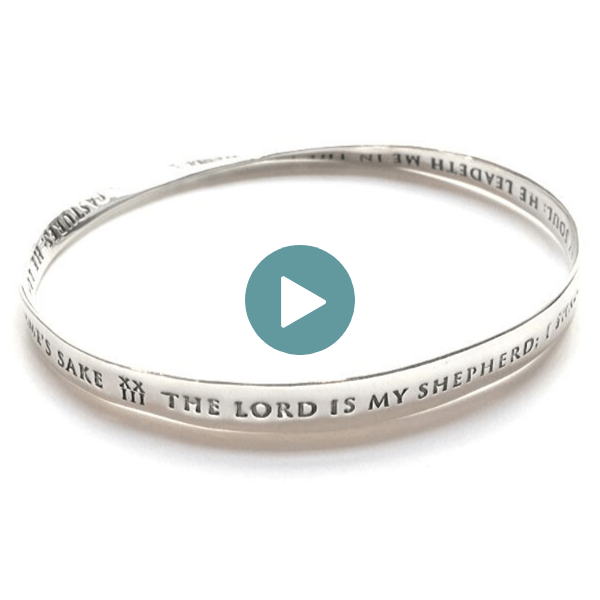 Sterling Silver Scripture Verse Bracelet | Psalm 23 | Mobius Bangle Bracelet