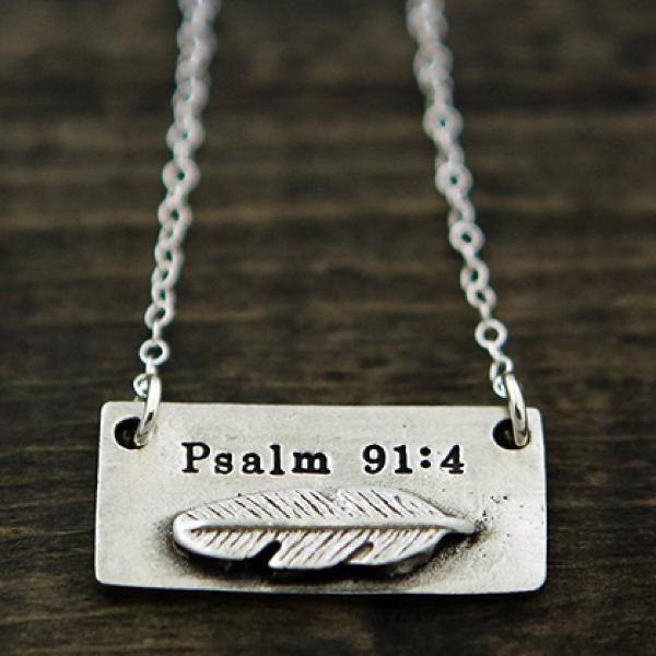 Fine Pewter Psalm 91:4 Feather Necklace | The Vintage Pearl