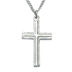 Fine Pewter Raised Cross Necklace | Textured Finish