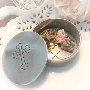 Petite Pewter Jewelry Box | Cross