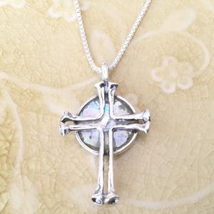 Sterling Silver Ancient Roman Glass Cross Necklace