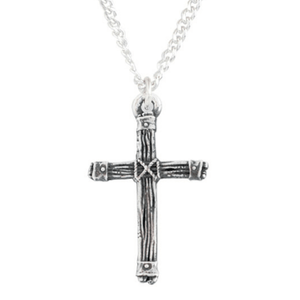 Sterling Silver Rugged Cross Pendant Necklace