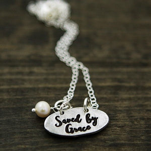 The Vintage Pearl Inspirational Faith-Based Necklace | Saved by Grace