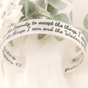 "Sterling Silver Engraved Cuff Bracelet | Serenity Prayer & Philippians 4:7 | 1/2"" width"