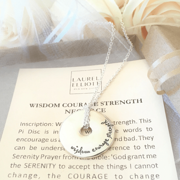 Wisdom Courage Strength Sterling Silver Pi Disc Necklace | Serenity Prayer