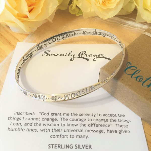 Serenity Prayer Mobius Bangle Bracelet | Sterling Silver or 14k Gold
