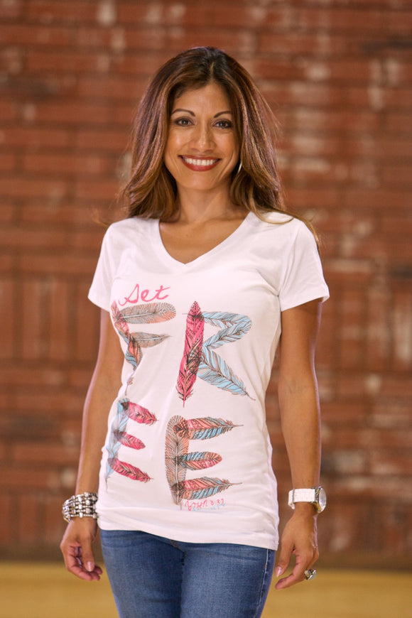Set Free Christian T-Shirt | Missy | White | Free U.S. Shipping