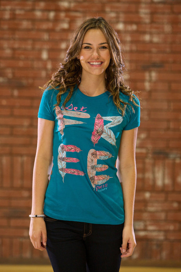180 Living Christian T-Shirt | Set Free Missy | Teal