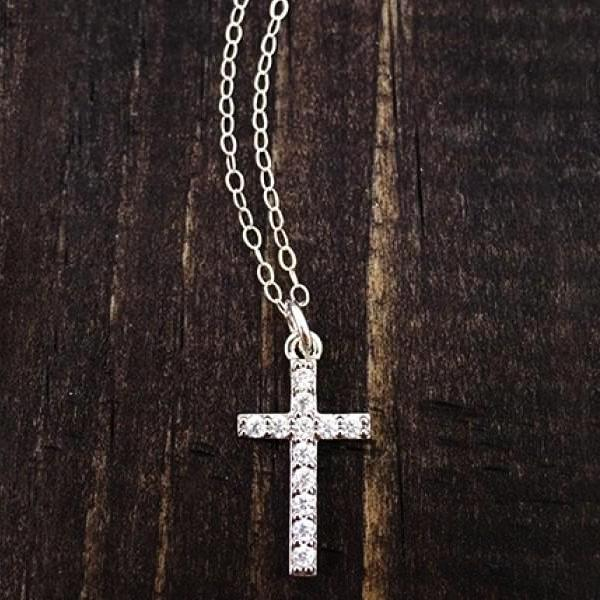 She is Clothed in Strength & Dignity Sterling Silver Cross Necklace | The Vintage Pearl