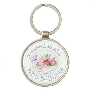 Scripture Verse Keychain | Blessed is She Who Believes | Luke 1:45