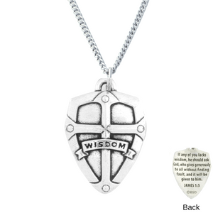 Handcrafted Fine Pewter Wisdom Shield Necklace | James 1:5
