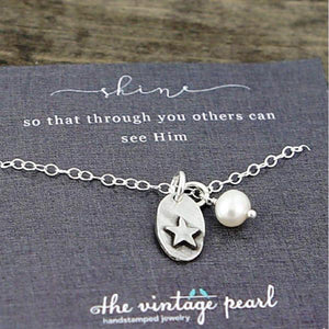 The Vintage Pearl Hand-Stamped Necklace | Shine
