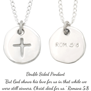 Sterling Silver Cross Disc Pendant Necklace | Romans 5:8