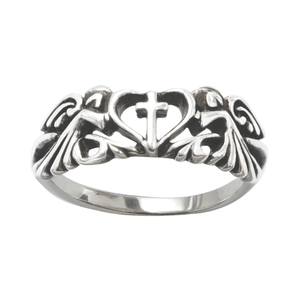 Sterling Silver Ladies' Angels with Cross and Heart Ring