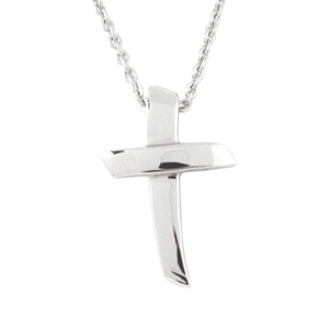 Sterling Silver Angled Cross Pendant Necklace