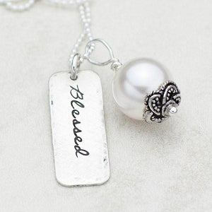 Sterling Silver and Pearl Hand-Stamped Necklace | Blessed