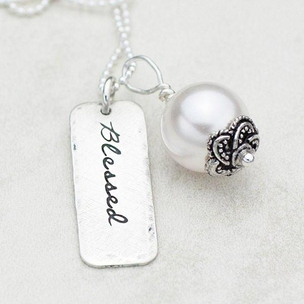 Sterling Silver and Pearl Hand-Stamped Blessed Necklace