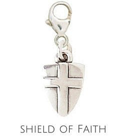 Sterling Silver Charm | Shield of Faith Charm | Coordinates with our Sterling Silver Charm Bracelets