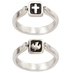Sterling Silver Ladies' Flip Ring | Cross and Dove